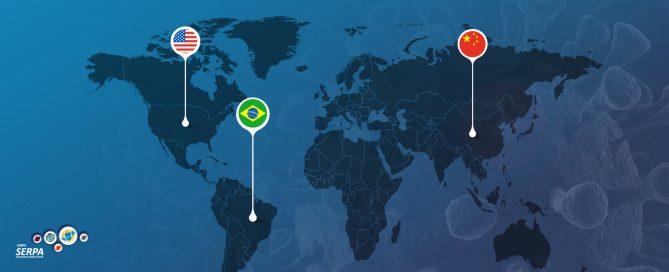 Mapa marcando China, EUA e Brasil com impactos do Coronavírus